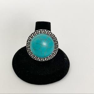 Turquoise Silver Boho Fashion Ring